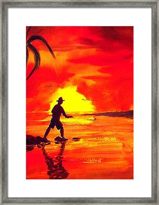 Hand Line Fisherman Framed Print by Buster Dight