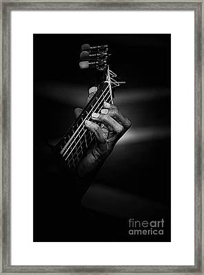 Hand Of A Guitarist In Monochrome Framed Print