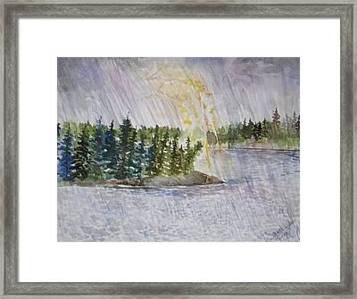 Hand Of God Storm Over Lake Jordan Framed Print by Mona McClave Dunson