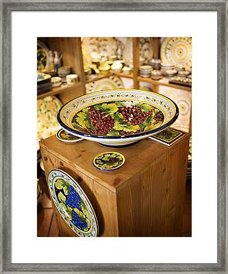 Hand Painted Dishes Framed Print by Marilyn Hunt