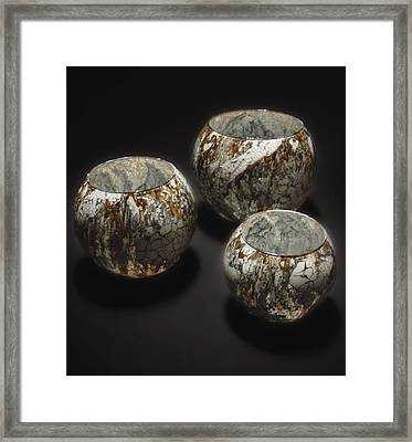 Hand Painted Glass Set Of Three Brown White Framed Print