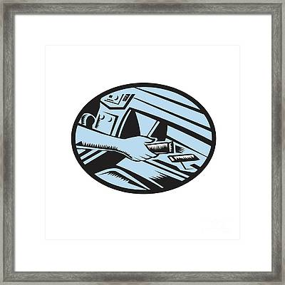 Hand Reaching In Glove Box For Energy Bar Oval Woodcut Framed Print