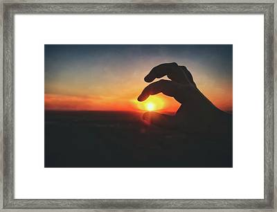Hand Silhouette Around Sun - Sunset At Lapham Peak - Wisconsin Framed Print by Jennifer Rondinelli Reilly - Fine Art Photography