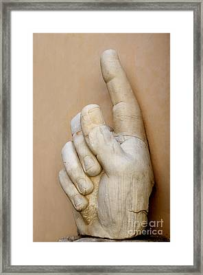Hand With Pointing Index Finger. Statue Of Constantine. Palazzo Dei Conservatori. Capitoline Museums Framed Print