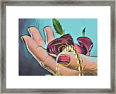 Hand With Red Rose And Pearls Framed Print