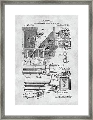 Handgun Search Light Patent Framed Print by Dan Sproul