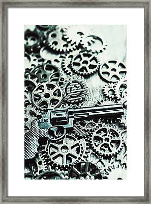 Handguns And Gears Framed Print