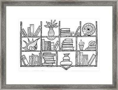 Handmade Graphic Picture Bookshelf Framed Print by Julia Faranchuk