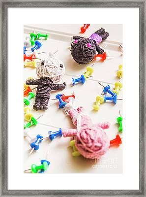 Handmade Knitted Voodoo Dolls With Pins Framed Print