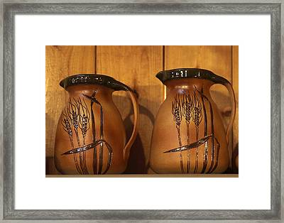 Handmade Pottery Pitchers Framed Print by Linda Phelps