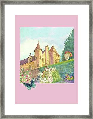 Handpainted Romantic Chateau Summer Garden Framed Print by Judith Cheng