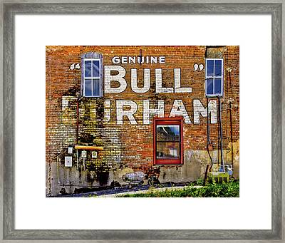 Framed Print featuring the photograph Handpainted Sign On Brick Wall by David and Carol Kelly