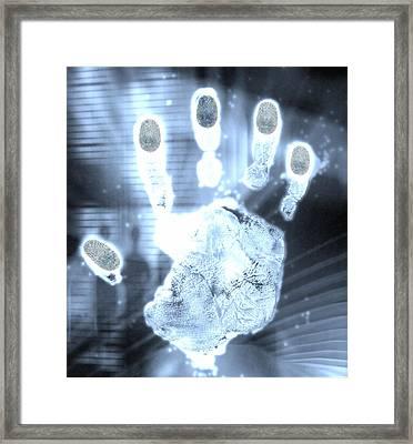 Handprint Forensics Framed Print