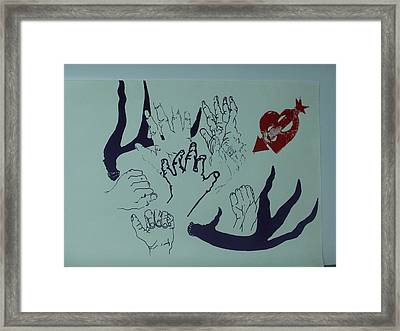 Framed Print featuring the mixed media Hands And Horns by Erika Chamberlin