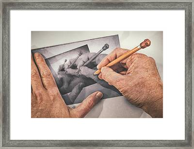 Hands Drawing Hands Framed Print by Scott Norris