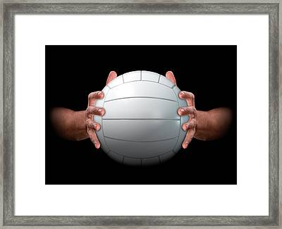 Hands Gripping Volleyball Framed Print