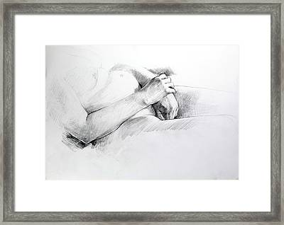 Framed Print featuring the drawing Hands by Harry Robertson