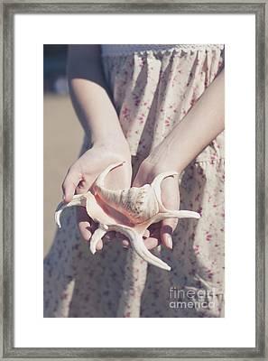 Hands Holding Large Seashell Framed Print