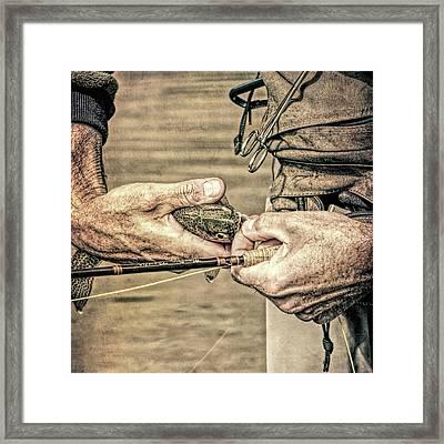 Hands Of A Fly Fisherman Grunge Framed Print