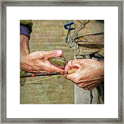 Hands Of A Fly Fisherman Framed Print by Jennie Marie Schell