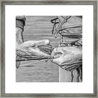 Hands Of A Fly Fisherman Monochrome Framed Print by Jennie Marie Schell