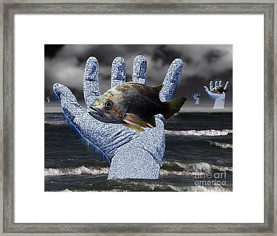 Hands Of The Lost Fishermen Framed Print by Keith Dillon
