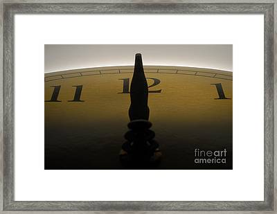 Hands On A Clock Showing 12 Noon Or Midnight Framed Print by Sami Sarkis