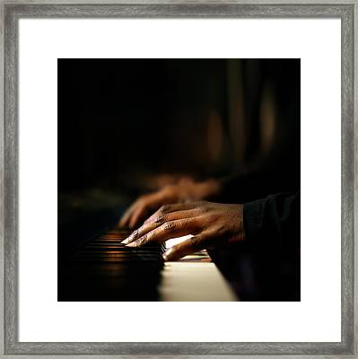 Hands Playing Piano Close-up Framed Print