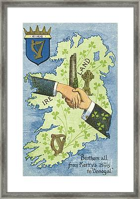 Hands Shaking Across Ireland Framed Print by Irish School