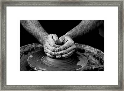Hands That Shape Framed Print by Quino Al