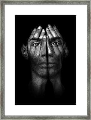 Hands Trying To Cover Eyes Framed Print by Evan Sharboneau