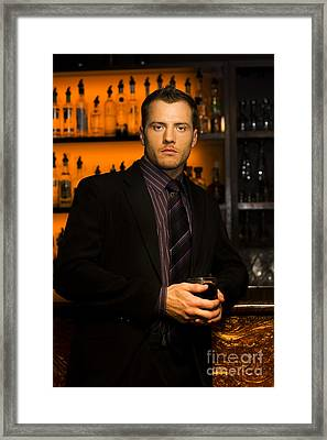 Handsome Young Man At Nightclub Bar Framed Print by Jorgo Photography - Wall Art Gallery