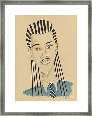 Handsome Young Man -- Stylized Portrait Of African-american Man Framed Print