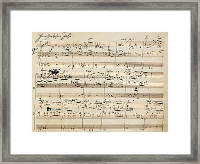 Handwritten Score For Herzliebster Jesu, Chorale Prelude Number 2 Framed Print by Johannes Brahms