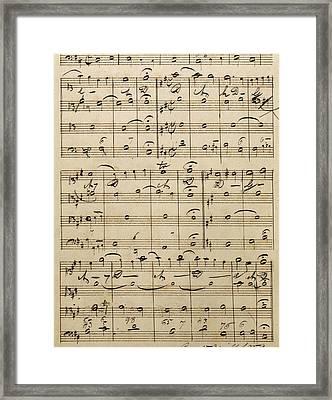 Handwritten Score Framed Print by Edvard Grieg