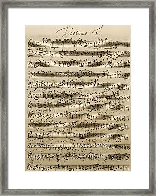 Handwritten Score For Mass In B Minor Framed Print