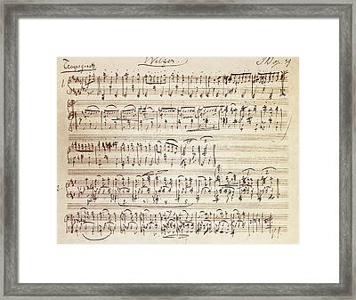 Handwritten Score For Waltz For Piano, Opus 39 Framed Print