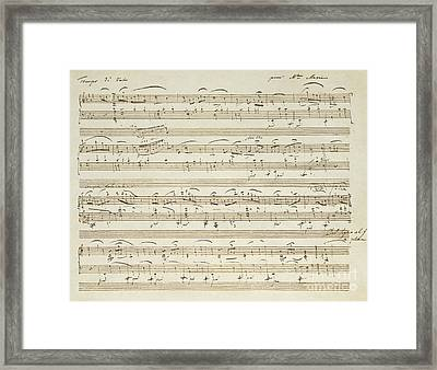 Handwritten Score For Waltz In Flat Major Framed Print