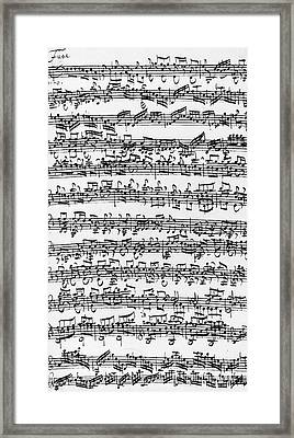 Handwritten Score Of Sonata No 1 For Solo Violin Framed Print