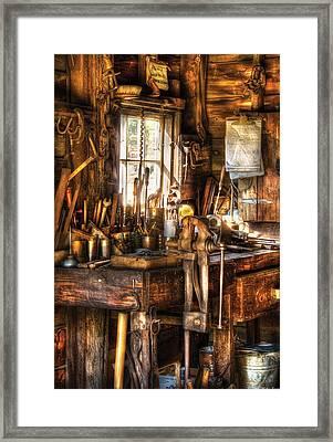 Handyman - Messy Workbench Framed Print