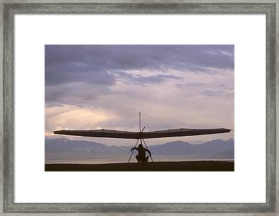 Hang Glider And Pilot Wait To Launch Framed Print