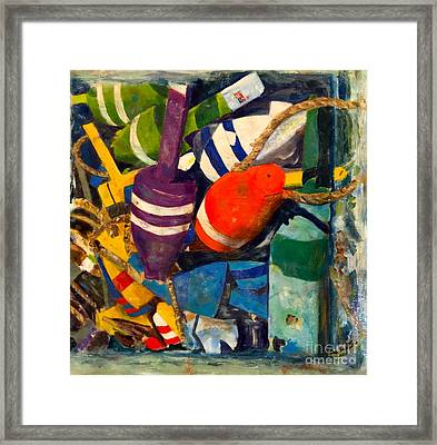 Hangin With The Buoys Framed Print by Beth Saffer
