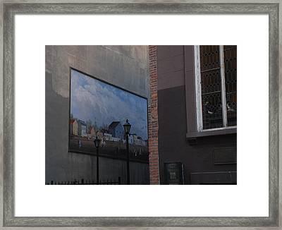 Hanging Art In N Y C  Framed Print by Rob Hans
