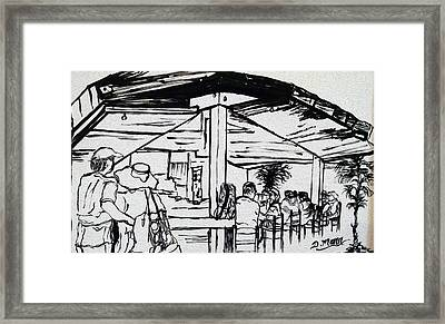 Hanging At The Tiki Framed Print by Donna Mann