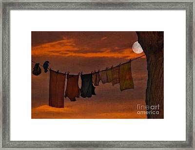 Hanging In The Moonlight Framed Print