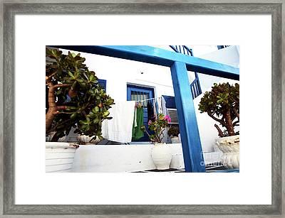 Hanging Laundry In Mykonos Framed Print