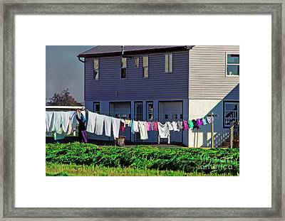 Hanging Laundry Framed Print by Thomas R Fletcher
