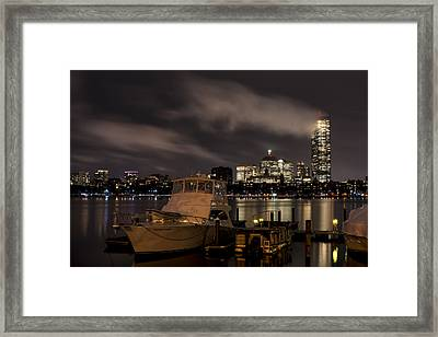 Hanging Onto A Cloud John Hancock Tower Boston Ma Framed Print by Toby McGuire