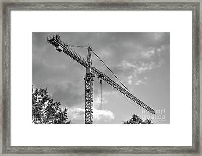 Hanging Out B W Tower Crane Construction Art Framed Print