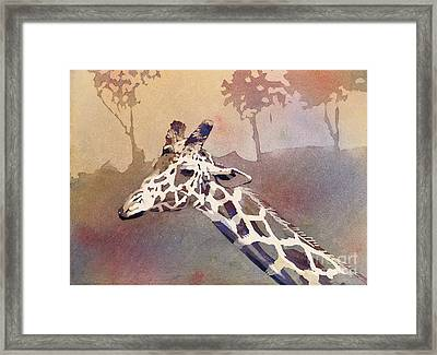 Framed Print featuring the painting Hanging Out- Giraffe by Ryan Fox